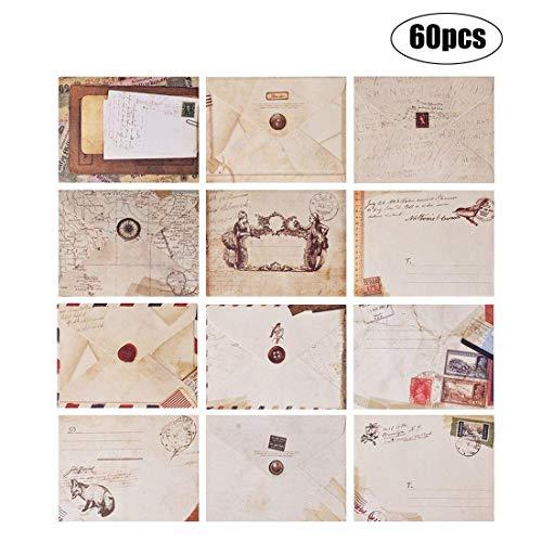 Yeelan 60 stücke Retro Umschlag Vintage Tasche Geschenkpapier Brief Karte für Weihnachten/Das Erntedankfest/Hochzeit usw. (Mini Größe: 7,2 X 9,5 cm / 2,8 X 3,8