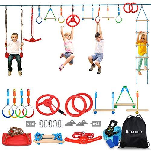 Jugader Ninja Warrior Obstacle Course for Kids - 65'' Ninja Slackline with 13 Accessories Swing, Ladder, Twister, Wheel, Rings, Bars
