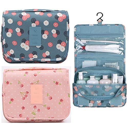 Sipliv 2 pacco da viaggio viaggio borsa da toilette sacchetto cosmetico impermeabile trucco organizzatore sacchetto cosmetico sacchetto per le donne ragazza, ciliegia + crisantemo
