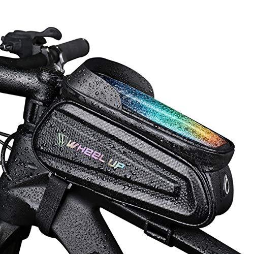 GFFG Bolsa para manillar de bicicleta de 7 pulgadas, resistente al agua, para smartphone hasta con pantalla táctil sensible para bicicletas de montaña, de carreras, bicicletas eléctricas