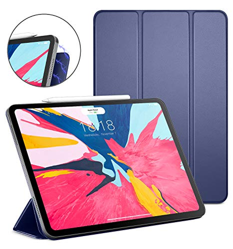 DTTO iPad Pro 11\' Case 2018, Ultra Strong Magnetic Trifold Stand Cover with All 102 Magnets Precisely Aligned, Auto Sleep/Wake [Apple Pencil Charging Supported] for iPad Pro 11 inch, Navy Blue
