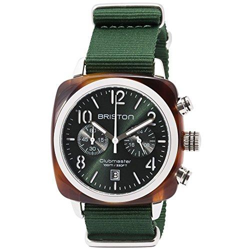 Briston Watch   Orologio Clubmaster Classic Cronografo con acetato tartaruga e quadrante verde del sole   Clubmaster Classic cronografo con guscio in acetato tortoise e dial sole britannico verde
