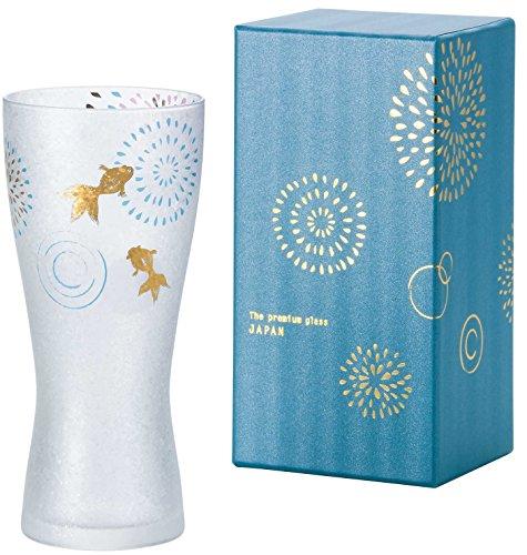 アデリアビールグラスブルー310mlプレミアムニッポンテイスト金魚花火ビアグラス(泡づくり機能付)ギフト箱入日本製6685
