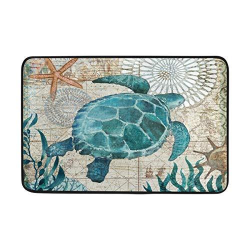 Sea Turtle Doormat Nautical Ocean Theme Starfish Retro Map Floor Mats Non Slip Washable Indoor Outdoor Entrance Bathroom Door Mat Home Decor, 23.6 x 15.7 inch