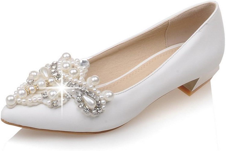 AdeeSu Womens Bead Glass Diamond Casual Polyurethane Pumps shoes