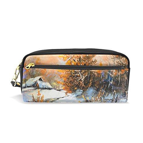 Eslifey Stifteetui, für den Winter, Landschafts-Malerei, tragbar, PU-Leder, für die Schule, Stifte, wasserfest, Kosmetiktasche