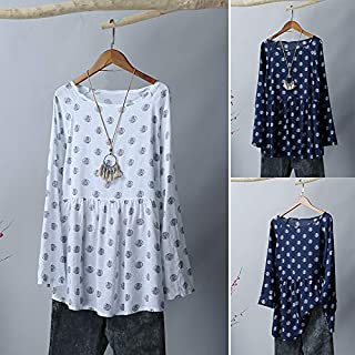 Explopur Large Size,Women Vintage Plus Size Blouse Tunics Tops Dot Print Long Sleeves Loose Shirts Spring Casual Tops