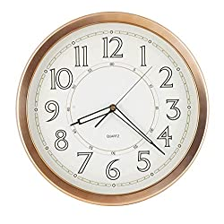 JUSTIME 14 Inch Luminous Quality Simplicity Large Easy to Read Wall Clock Sweep Non-Ticking Movement for Home Decor (W81LD-RG Rose Gold)