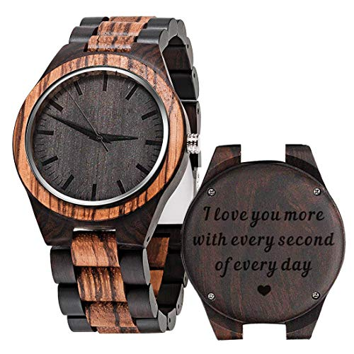 Engraved Wood Watches for Man Dad Husband Boyfriend - I Love You More Every Second - Personalized Anniversary Birthday Wooden Watch for Men Him - Zebra Black