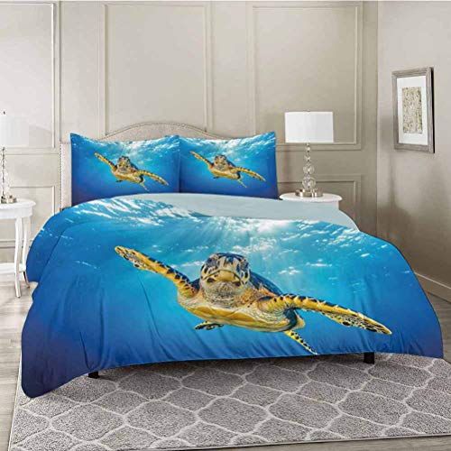 YUAZHOQI Duvet Cover 3 Piece Set, Eretmochelys Imbricata Swimming in Blue Waters Sun Rays Oceanic Wildlife, Comforter Cover with Zipper Closure and 2 Pillow Shams, Full Size