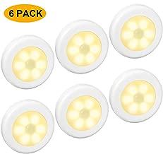 6 Packs Motion Sensor Light, Cordless Battery-Powered LED Night Lights for Hallway Bathroom Bedroom Kitchen, Closet Lights Stair Puck Lighting(Warm White)
