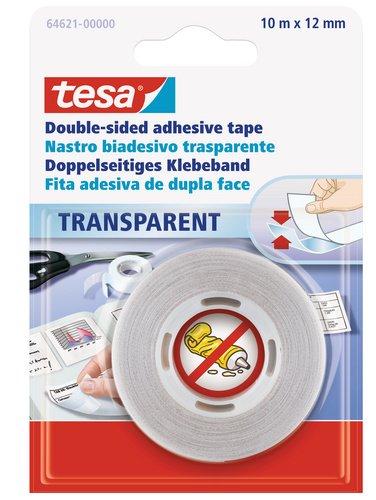 tesa 64621-00000-04 Doppelseitiges Klebeband, Transparent, 10m:12mm
