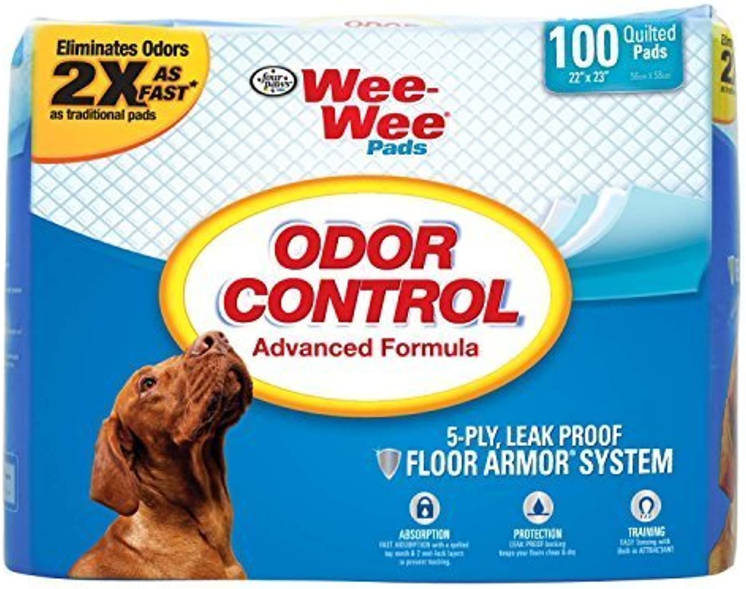 Four Paws WeeWee Odor Control Pads  100 Count ( 22   inch X 23  inch ) by WeeWee Products