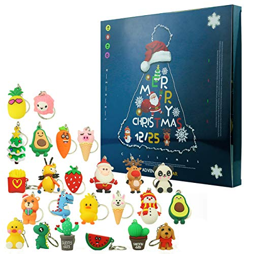 Ogramr Christmas 2020 Advent Calendar for Kids Holiday Countdown Calendar with 24 Pcs Micro Lovely Silicone Doll Key Ring Christmas for Childrens