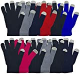 Winter Magic Gloves, 12 Pairs Stretchy Warm Knit Bulk Pack Mens Womens (12 Pairs Touch Screen Assorted)