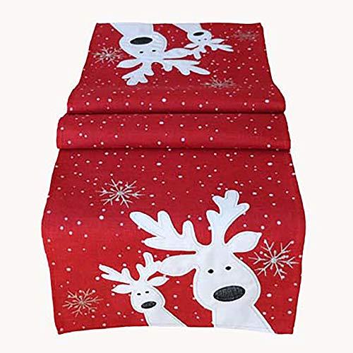 Kamaca Serie LUSTIGE Elche mit neugierigen Elchen und Schneeflocken Filigrane Stickerei Eyecatcher Winter Weihnachten (rot, Tischläufer 40x140 cm)