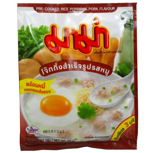 Mama Precooked Rice Porridge Jook  Congee Pork Flavour Net Wt 50 G 176 Oz X 3 Bags