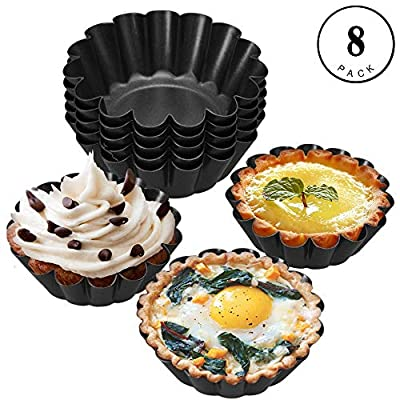 Tart Pan, 8pcs Mini Round Nonstick Egg Tart Mold Muffin Cake Mold Home Baking Pie Plate