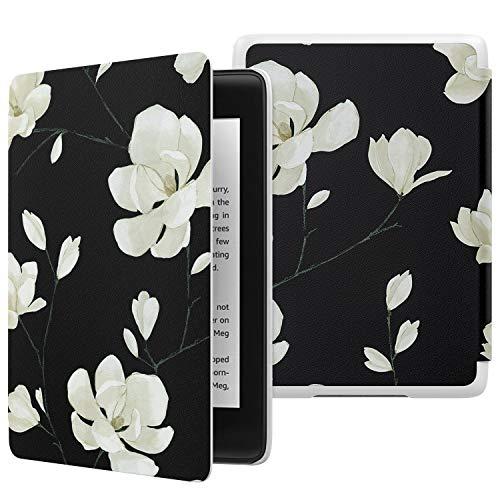 MoKo Étui de Protection pour Nouvel Kindle Paperwhite (10ème Génération,Modèle 2018), Coque Pliable en Cuir Mince Léger avec Auto Réveil/Veille - Noir + Magnolia Blanche