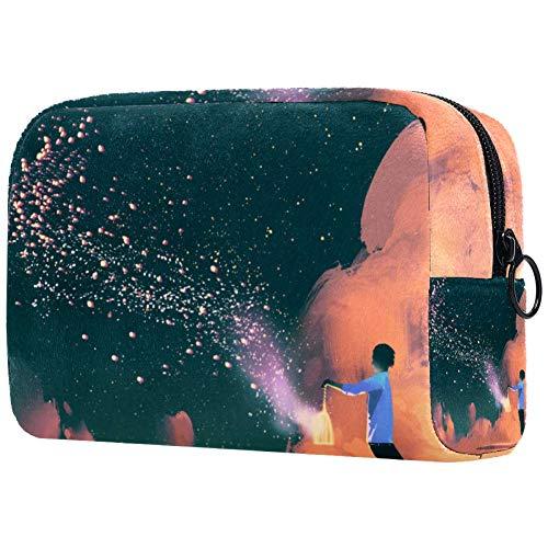Man Holding A Cage con galleggiante brillante Stardust borsa da viaggio per cosmetici da donna – trousse da viaggio per articoli da toeletta e cosmetici con molte tasche