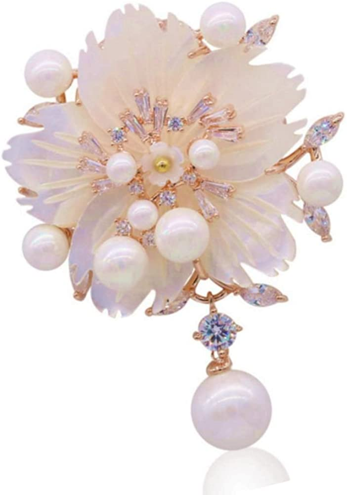 DREAMLANDSALES Stunning White Mother of Pearl Drop Blossom Plum Flower Brooches