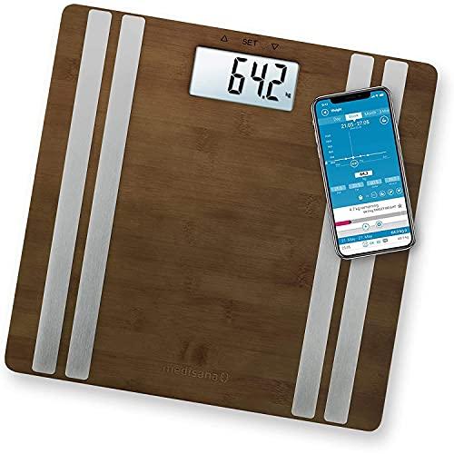 medisana BS 552 connect báscula digital de bambú para análisis corporal hasta 180 kg, báscula personal para medir la grasa corporal, el agua corporal, la masa muscular y el peso óseo