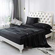 ZIMASILK 4 Pcs 100% Mulberry Silk Bed Sheet Set,All Side 19 Momme Silk (Queen, Black)