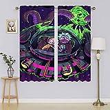 Rick and Morty - Cortinas opacas con ojales térmicos para mantener las cortinas calientes para sala de estar, dormitorio (100 x 120 cm)