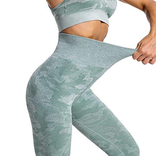 Leggings Damen, Yogahose Laufhose Sporthose Tights lang, Leggins, High Waist, Fitness, Yoga, Training (S,Grün)