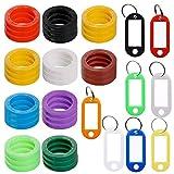 30 pcs Key Cap Tags with 8 Key Label Windows, FineGood Plastic Key Identifier Coding Ring ...