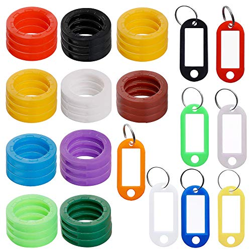 30 pcs Key Cap Tags with 8 Key Label Windows, FineGood Plastic Key Identifier Coding Ring Cover with Key ID Tag for Keychain Luggage Bag Pet Identifier