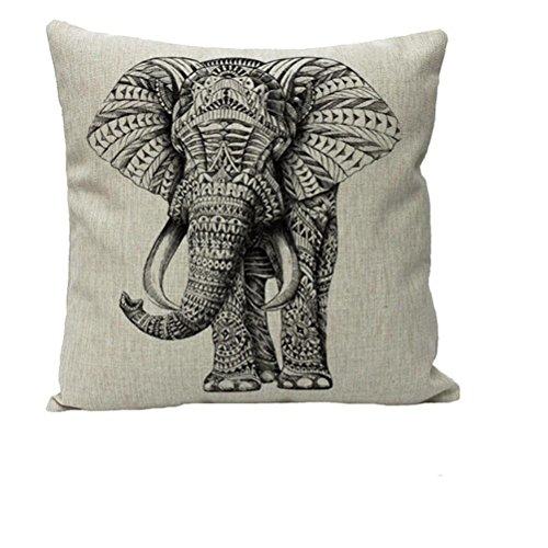 Nunubee Süße Tiere 45*45cm Baumwolle Leinen Dekor Kissenbezüge Kissenbezug Kissenhülle,Elefant