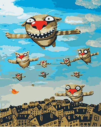 YMLINXI Pintura por Números para Adultos y Niños Monstruo Volador Dibujos para Pintar con Números, DIY Pintura al Óleo por Números Decoración del Hogar 40x50 cm(con Marco)
