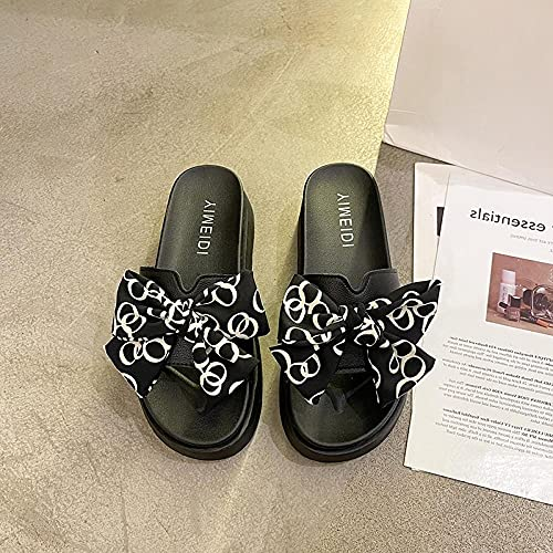 Perferct Mens Trainers 10,Fashion Bow Slippers, Female 2021 Summer Wear Students Increase The Pine Cake Thick Bottom Slippers.-Eu 36 (23cm / 9.05')_black