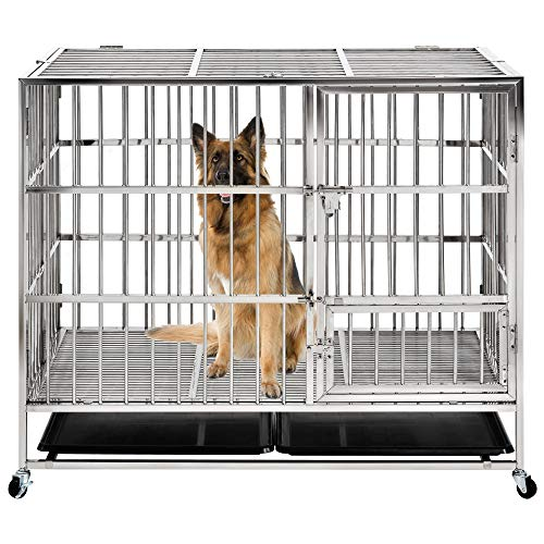 petgroomingtable Heavy Duty Dog Crate Strong Stainless Steel Kennel and Crate for Large Dogs, Easy to Assemble with Four Wheels