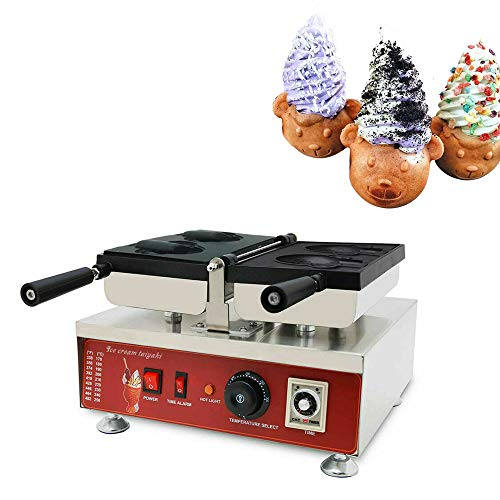 Commercial Ice Cream Cone Waffle Maker Machine 2PCS Nonstick Crispy Machine Stainless Steel Bear Shape Ice Cream Shell waffle Iron Baker Machine for Waffles 110V Household Waffle Cone Maker 1560W