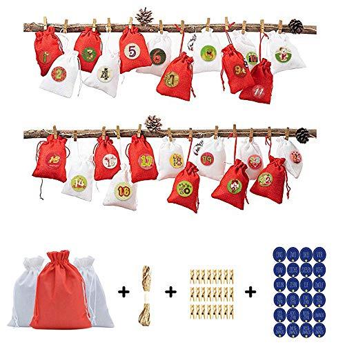 LOHOX Gift Bags Adventskalender, 24 stuks Xmas invulbare adventskalender, boom opknoping Hessian zakken met Adventnummers, 24 dagen countdown doe-het-zelf kalender voor kerstversieringen