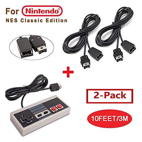 Cleantt NES Classic Controller für Nintendo NES Classic Edition Mini Controller, 2 Stück, 3 m Verlängerungskabel für Nintendo Super SNES Classic, NES Classic, Wii, Wii U Controller und mehr