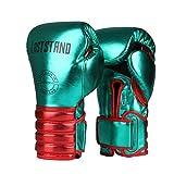 xjst boxe guanti in pelle pu kick boxing guanti muay thai mma guanti maschio adulto femminile sanda formazione muay thai di combattimento free fight professionale sandbag guanti,verde,6oz