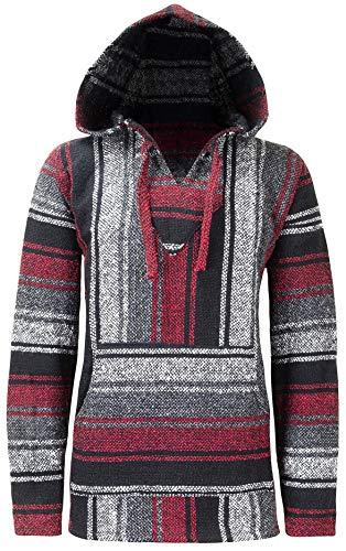 ÖLAND OUTDOOR BAJA Hippie Hoodie Mexikanischer Poncho Männer Frauen Jungen Mädchen Teppich - Made in Mexico - (Original Stripe Pullover Hoody) Gr. M, Schwarz / Weiß / Rot