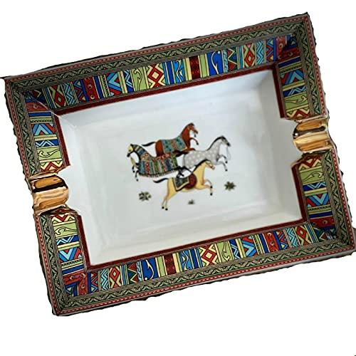 YFFSBBGSDK Cenicero Hecho a Mano artístico patrón de Rejilla cenicero de cigarro de cerámica Hermoso cenicero de Lujo