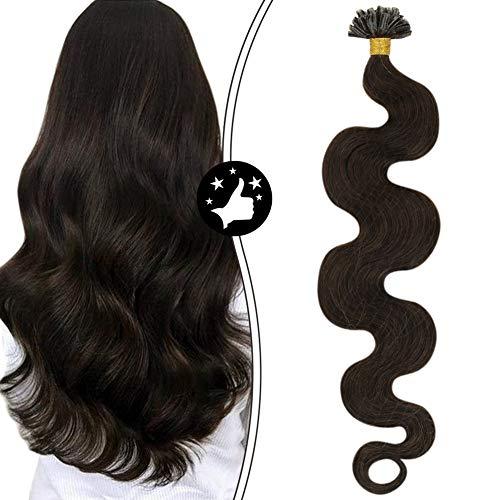 U Tip Hair Extensions Brazilian Hair Moresoo Brown Fusion Hair Extensions 16 Inch Colored #2 Darkest Brown Pre Bonded Hair Extensions Body Wavy Utip Remy Hair Extensions Unprocessed Hair 50G/50S