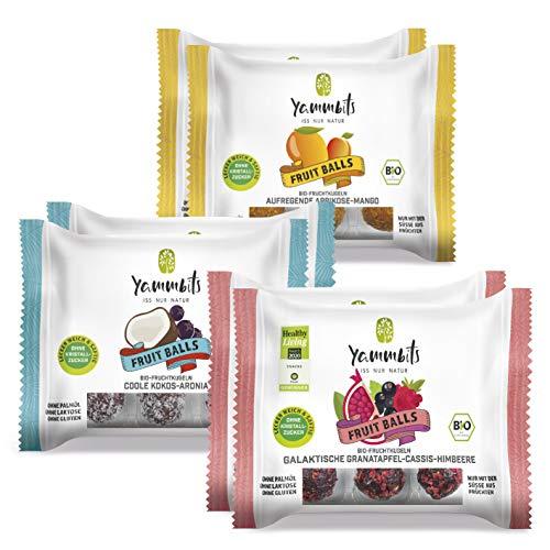 Yammbits Fruchtkugeln TryMe 6er-Set | 2xGranatapfel, 2xAprikose, 2xKokos | Gesunde und Leckere Snacks [Vegan, Glutenfrei]