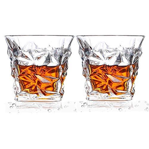 Mettime Verre de Whisky,Verres à Whisky Diamond, Verres en Cristal sans Plomb, Verres à Whisky Scotch de 10,6 oz