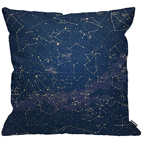 HGOD DESIGNS Star Map Cushion Cover,City Light Constellation in Night Sky Throw Pillow Case Home Decorative for Men/Women Living Room Bedroom Sofa Chair 18X18 Inch Pillowcase 45X45cm