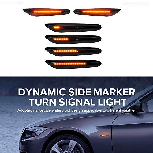 2er Pack LED Dynamische Blinker Seitenblinker Blinkleuchte 18 LED Dynamische Blinkleuchte Blinker Schwarz Smoke Passgenau für E90 E91 E92 E60 E82 E46 SB10