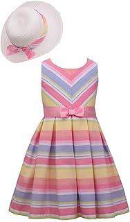 Little Big Girls 2T - 16 Easter Romantic Floral Clipdot Asymmetrical-Trim Dress, and Hat Set