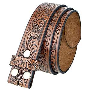 Western Floral Engraved Embossed Leather Belt 21