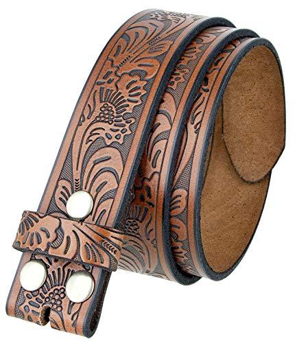 Western Floral Engraved Embossed Leather Belt 1