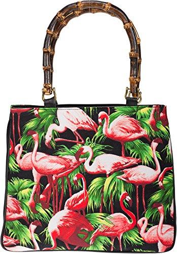 Küstenluder Damen Tasche Lianna Flamingo Tiki Handtasche Schwarz